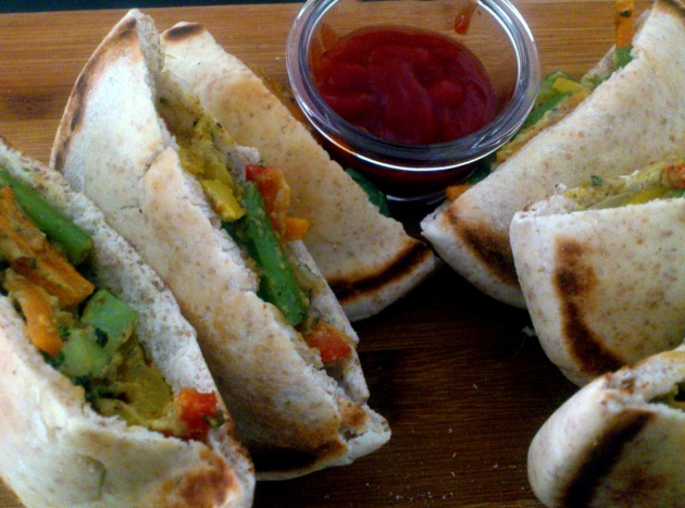 Pita Pockets with Stir-fried Vegetables
